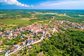 Istria. Town of Visnjan on green istrian hill aerial view