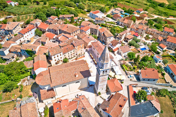 Istria. Historic town of Visnjan on green istrian hill aerial view
