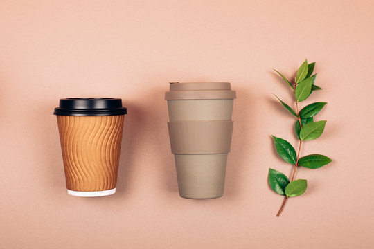 Refillable and disposable cups. Concept of plastic-free and zero waste living