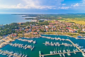Umag. Aerial view of sailing marina and beautiful coastlne in Umag