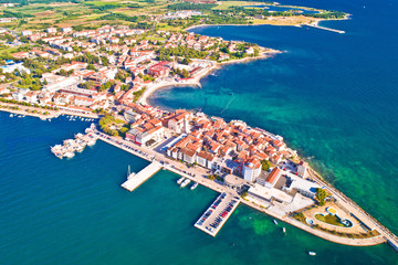 Town of Umag historic coastline aerial view