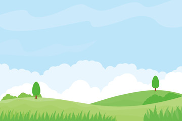 Nature landscape vector illustration with green meadow, trees and blue sky suitable for background
