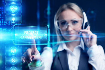 Business, Technology, Internet and network concept. Marketing content. Businessman presses a button Project management on the virtual screen tablet future.