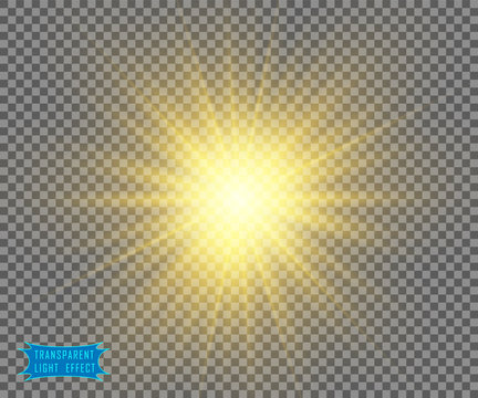 The yellow light of the sun, the flash of a star. Soft, glow transparent rays. Vector design element on isolated background.