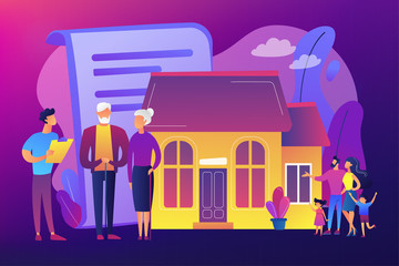 Property insurance, testament signing, house buying. Retirement estate planning, inheritance planning, financial advisor and lawyer services concept. Bright vibrant violet vector isolated illustration