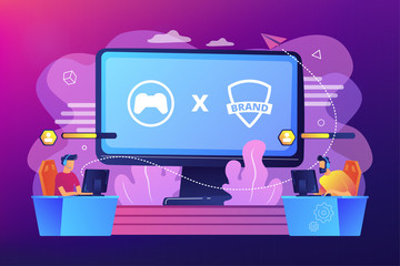 Cybersports competition. Branded game players playing. eSports collaboration esports partnership, esports and global brands cooperation concept. Bright vibrant violet vector isolated illustration