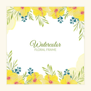 Yellow watercolor painted hibiscus floral border
