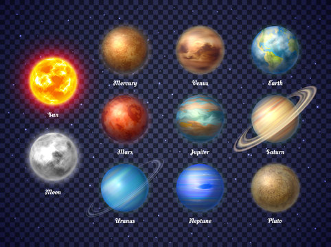 Colorful sun, moon and nine planets of solar system isolated on transparent background. Galaxy discovery and exploration. Realistic planetary vector illustrations set for school education materials.