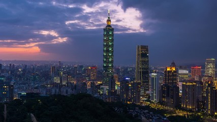 Fotomurales - Taiwan skyline, Beautiful cityscape at sunset.