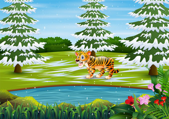Cartoon tiger in the winter forest landscape