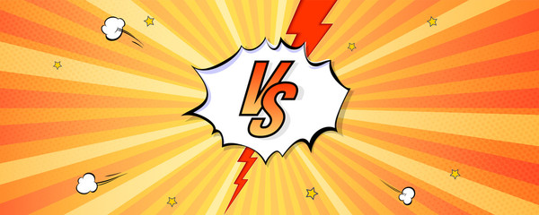 Versus logo on expressive background in comic book style. Letters VS with explosions bubbles and rays. Vintage pop art banner for challenge or contest. Vector poster for superhero, sports events