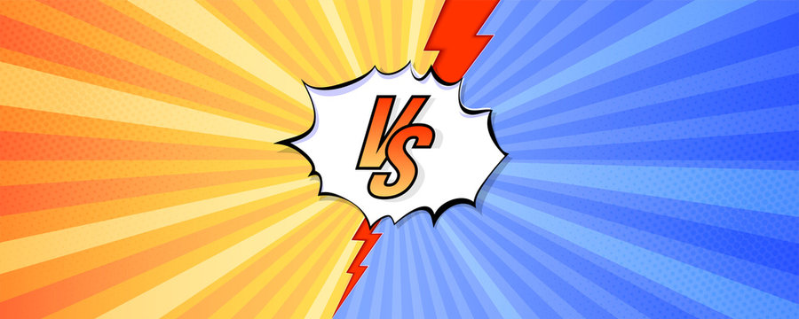 Logo of versus. Letters VS on background in comics style for sports and fight, martial arts, competition. Blue and red background with halftone effect and red lightning. Vector illustration