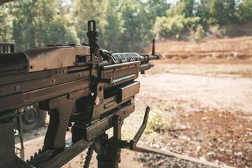 M60 machine gun on the Cu Chi shooting range. Vietnam.