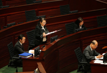Hong Kong Secretary for Justice Teresa Cheng answers questions from lawmakers at the Legislative Council in Hong Kong