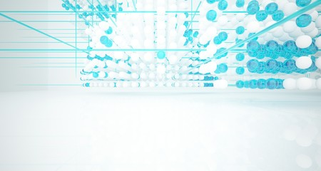 Abstract white and colored gradient glasses interior from array spheres with large window. 3D illustration and rendering. Fotoväggar