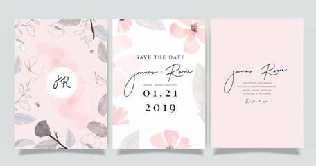 Luxury marble Wedding logo and Invitation set,  invite thank you, rsvp modern card Design in pink and gray flower with leaf greenery branches  decorative Vector elegant rustic template Fototapete