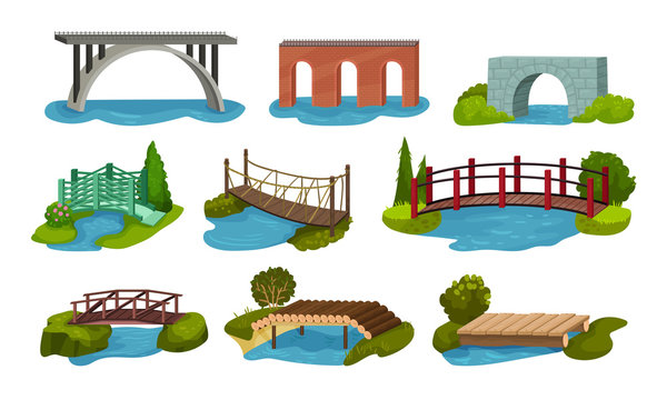 Different Bridges Collection, Wooden, Metal, Brick and Concrete Bidge Vector Illustration