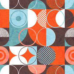 Seamless abstract geometric modern pattern. Retro bauhaus design of circles, squares and textures. Use for backgrounds, fabric design, wrapping paper, scrapbooks and covers. Vector illustration.