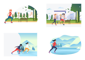 Summer and winter skating set. Girls roller skating, skating on ice. Flat vector illustrations. Hobby, sport, lifestyle concept for banner, website design or landing web page