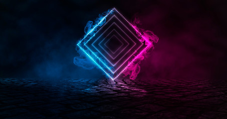 Fotomurales - Futuristic abstract blue and pink neon background, luminous geometric figure, element in the center. Background of empty street at night, neon light, asphalt, concrete, smoke, smog.
