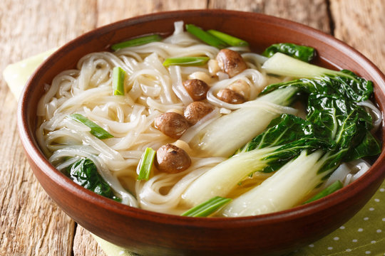 Chinese noodle soup with mushrooms, onions and bok choy closeup in a bowl on the table. horizontal