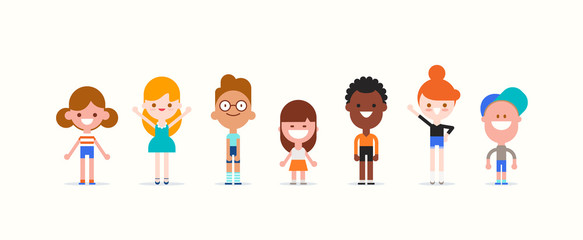 Smiling kids characters isolated. Diversity children standing cartoon vector illustration.