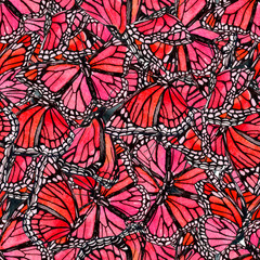 Beautiful watercolor butterflies background. Hand drawn butterfly shapes seamless pattern