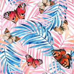 Water color tropical leaves and beautiful butterflies background.