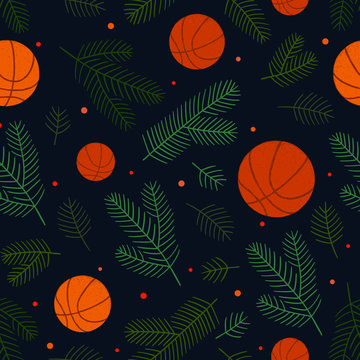Christmas seamless background with basketball balls and fir shawls. Green, dark blue and orange dominate. Can be used for postcards, gift paper, invitations, advertising, web, textile and other.