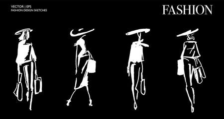 Beautiful fashion sketch. Hand drawn stylish young lady.  Woman silhouette. Fashion illustration sketching. Black ink drawing. Fashion model posing. Shopping concept. Wall mural