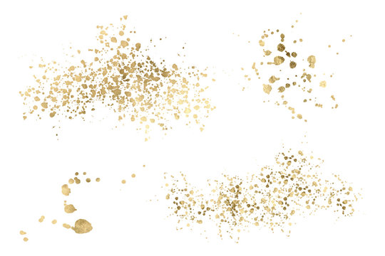 Watercolor gold Drop Splash Vector Hand drawn