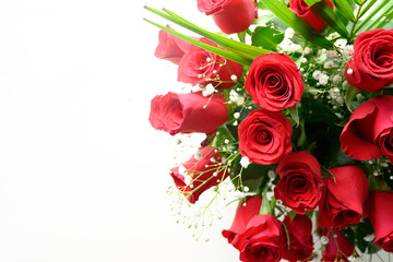 In de dag Roses A gift of a bouquet of roses on white, background and place for your text