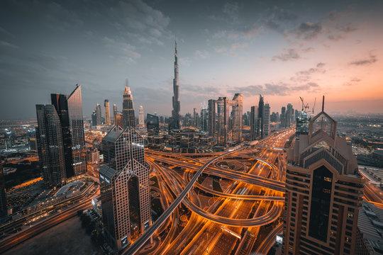 High angle view of Dubai skyline during sunset