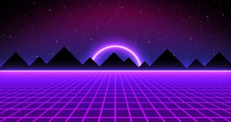 80s Retro Sci-Fi Neon Background Futuristic Grid landscape. Digital cyber surface style of the 1980`s. 3D illustration