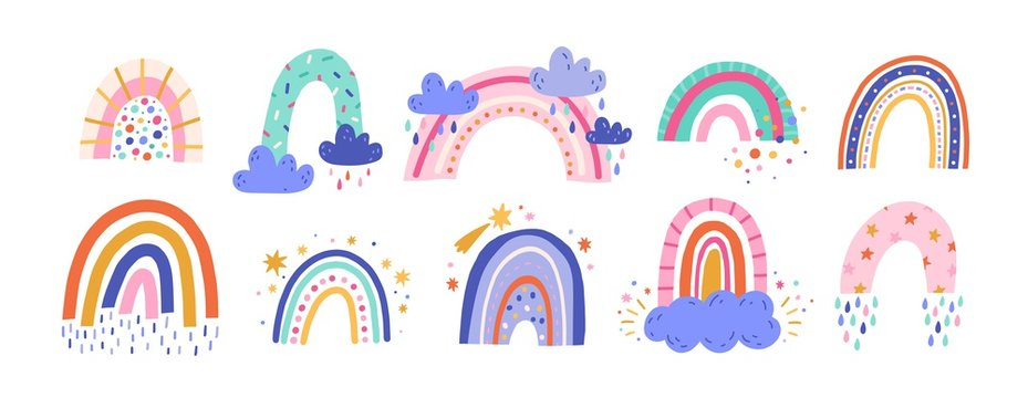 Cute colorful rainbows set. Childish flat vector illustrations collection. Weather forecast, meteorology. Rainy clouds and stars isolated on white background. T shirt print design element.
