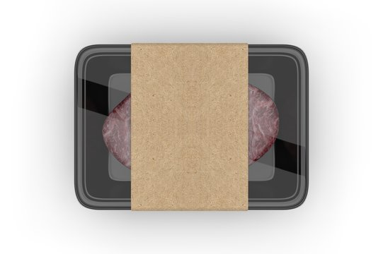 Meat food tray with blank paper label, 3d render illustration.
