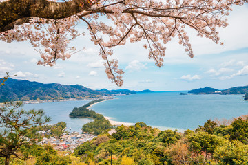 Amanohashidate nature scenic view at spring in Kyoto, Japan