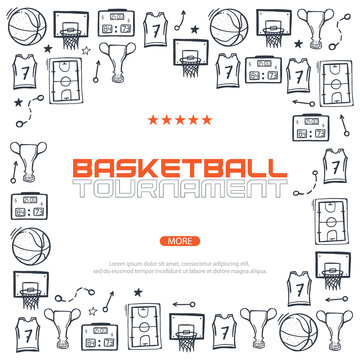 Basketball banner with hand draw doodle background.