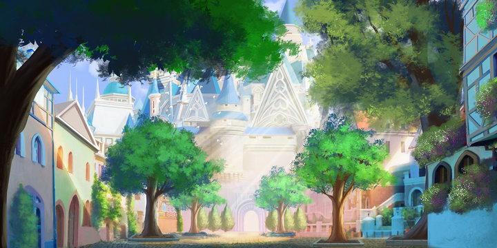 The Front Door of Magic Academy. Magical School. Fantasy Urban Town Backdrop. Concept Art. Realistic Illustration. Video Game Digital CG Artwork Background. Nature Scenery.