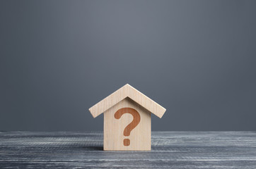House with a question mark. Cost estimate. Solving housing problems, deciding buy or rent real estate. Search for options, choice type of residential buildings. Property price valuation evaluation