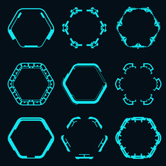 Set of futuristic hexagons for hud interface.