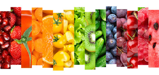 Keuken foto achterwand Keuken Collage of fruits, vegetables and berries. Fresh food. Healthy lifestyle
