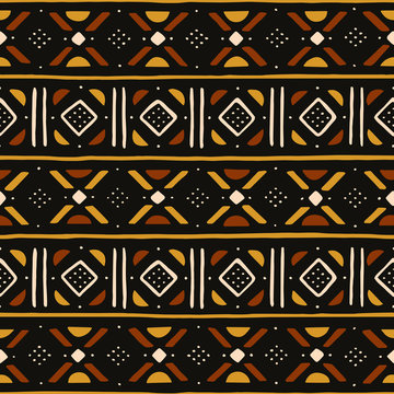 African seamless pattern. Traditional mud cloth, bogolan. Tribal fabric.