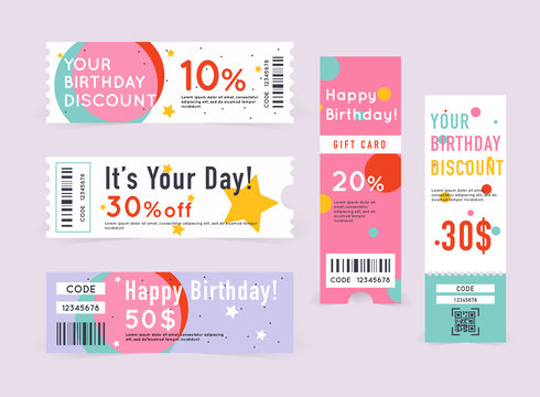 Gift card with coupon code. happy Birthday coupon illustration.