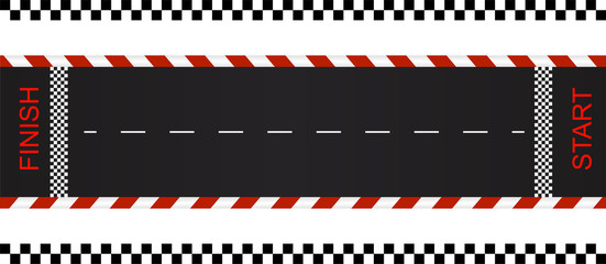 Foto op Aluminium F1 Cartoon racing track for a quarter mile ride. Top view. Vector illustration