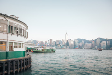 Wall Mural - 30 Nov 2019 - Star ferry pier, Hong Kong: ferry is going back to pier