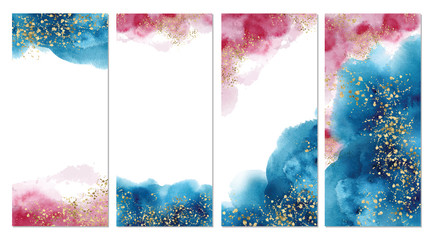 Watercolor abstract aquamarine, background, hand drawn illustration Fotomurales