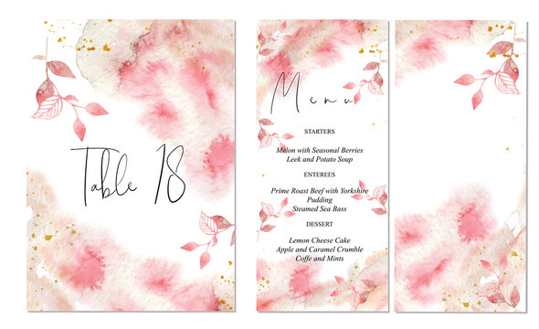Pink and gold wedding set with abstract watercolor background