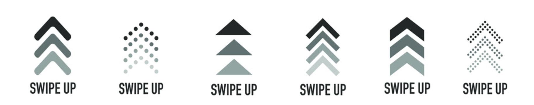 Swipe up buttons set for social media. Flat design icons on white. Vector illustration