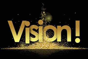 vision in golden stars and black background